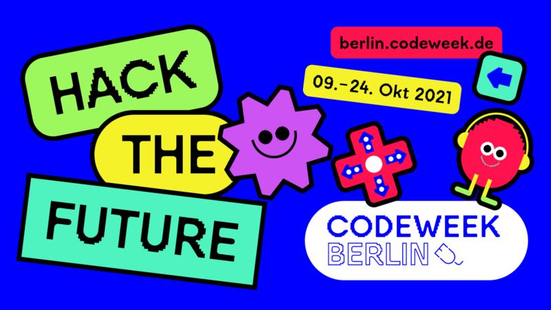 Werbegrafik zur Code Week. Zeitraum 9.-24. Oktober 2021. Webseite: berlin.codeweek.de